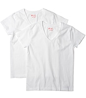 HANES Japan Fit V Neck 2P Tee