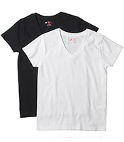HANES Japan Fit V Neck 2P Tee(2Color)